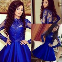 로얄 블루 짧은 홈 커밍 드레스 2018 긴 소매 베스 티도 데 페 스타 라인 빈티지 레이스 블랙 걸 Prom Arty Gowns Custom