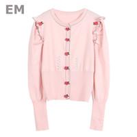 EHMAXRTH Korean Metal Flower Buons Knied Sweater Tops Wild 2018 New  Women Super Qualtiy Long-Sleeves Cardigans E8707