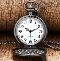 Pocket watch vintage with chain for Men Women Silver Gold Bl...