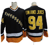 Vintage Pittsburgh 94 gin e suco de hóquei jerseys mens snoop dogg música video gin e suco preto costurado jersey s-xxxl