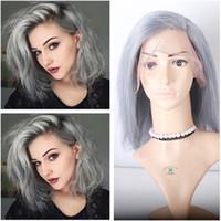 Cabelo Humano Cabelo Curto Bob Humano Lace Wigs cinza prata Virgin brasileira Pure Grey perucas completas do laço 130 Densidade Gluess rendas frente Wigs