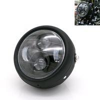 """1 adet Motosiklet Far Metal LED 6.3 """"35 W Farlar ile Çatal Tüpler için Dirsek Harley Bobber Honda GN125 Cafe Racer"""