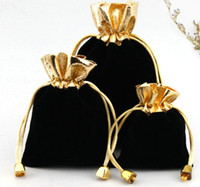 100pcs lot BLACK 7x9cm 9x12cm Velvet Beaded Drawstring Pouch...
