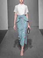 La camicia alla moda di due pezzi di temperamento di Xiao Xiang feng, pannello esterno dell'anca, vestito da estate del vestito 2018 nuovo trasporto libero di stile