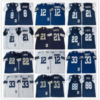 Best Quality 8 Troy Aikman 12 Roger Staubach 21 Deion Sanders 22 Emmitt  Smith 33 Tony Dorsett 88 Michael Irvin football Jerseys Men 609a938c0