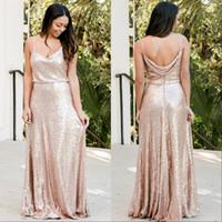 Gül Altın Sequins Gelinlik Modelleri Ülke Custom Made Düğün Konuk Elbisesi Genç Onur Hizmetçi Elbise Spagetti Sapanlar Ucuz