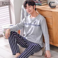 BZEL Nuovo cotone pigiama uomo pijama hombre masculino manica lunga casual pigiameria pigiameria pigiameria set per il maschio sonno lounge