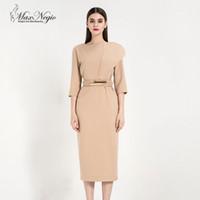 83fcfd05d MaxNegio Marca de alta calidad Nueva llegada Señora Tres cuartos Color  sólido Runway Designer Slim Dress