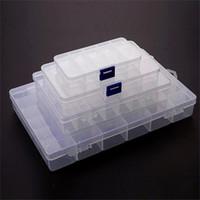 Caixa de Armazenamento Plástico Transparente Exposição Organizer Holder 10 15 24 36 Slots Recipiente para Beads Anel Brinco Jóias