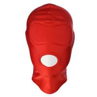 Cagoule en cuir BDSM Bondage pour adultes Jeux de masques complets Masque fétiche, verrouillage des yeux pour le sexe