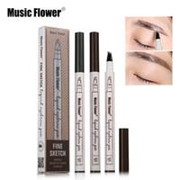 음악 꽃 액체 눈썹 펜 음악 꽃 4 머리 눈썹 향상제 3 색 더블 헤드 눈썹 증강 인자 방수 DHL 무료 배송