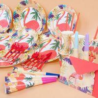 Дети фламинго день рождения поставки пользу посуда декор тарелки салфетки баннер чашки украшения партии наборы 20 комплектов OOA4913