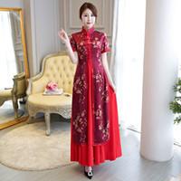 Élégance de la mode vietnamienne 2 pièce Ao Dai Robe impression rouge améliorée Suzhou cheongsam moderne à manches courtes Vietnam AoDai Robe
