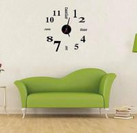 Hot 50 pcs relógios de Quartzo moda relógios 3d real grande relógio de parede apressado espelho adesivo diy sala de estar decoração