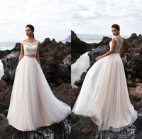 Two Pieces Tulle A Line Summer Beach Wedding Dresses 2018 Bo...