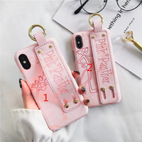 Luxury pink panther wrist strap PU case for iphone X 6 6s 6p...