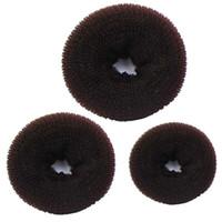 3 PCS Esponja Mulheres Cabelo Bun Ring Donut Shaper Criador Faixas de Cabelo Anéis Laços Corda Café