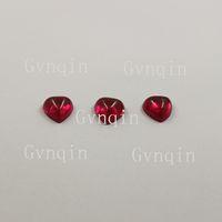100pcs / laboratorio porción envío libre creado rubí # 5 cabujón corazón piedras sueltas espalda plana