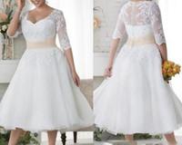 2019 новый сексуальный плюс размер свадебные платья Короткие рукава свадебные платья белое кружево крытая кнопка пляжное платье чай длина линии vestidos