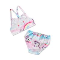 طفلة ملابس السباحة 2018 صيف جديد ملابس السباحة للأطفال يونيكورن الكرتون لطيف الفتيات قطعتين ملابس السباحة
