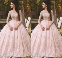 Blush Long Sleeve Prom Dresses Ball Gown Lace Appliqued Bow ...