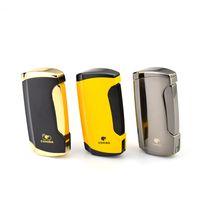 Allume-cigares COHIBA Briquet Coupe-Vent Briquet Gris / Jaune avec Coffret Cadeau pour BBQ et Fumeurs