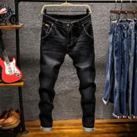 Midweight Fashion Denim Pants Solide Slim Fit Jeans Herren Design Gewaschen Retro Lange Stretch Röhrenjeans 6 Farbe Khaki Schwarz Dunkelblau