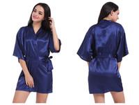 Señoras de la seda del satén 2018 Kimono robe la ropa de noche atractiva de la dama de honor traje de la boda bata del vestido camisón