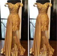 Gorgeous Lace Gold Mermaid Evening Dresses Off The Shoulder ...