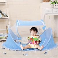 여름 어린이 모기 그물 접기 비 설치 유연한 침대 도트 블루 핑크 베개 패드 뜨거운 판매 아기 모기 바 32gj dd