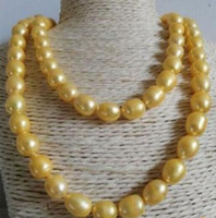 Noble Natural 11-12mm South Seas Collana in oro 38inch 14K fermaglio in oro