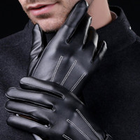 Men Touch Screen Gloves Men' s PU Leather Full Fingers G...