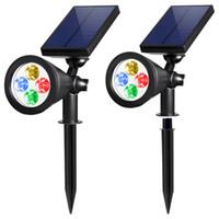 잔디 램프, 태양 광 조명, 2-in-1 방수 4 LED 스포트라이트 조정 가능한 벽 조경 빛 보안 조명 어두운 감지 자동 켜기 / 끄기