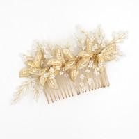 Аксессуары для волос свадебный гребень волос с жемчугом золотые листья женщины украшения для волос свадебные украшения свадебные головные уборы BW-HP828
