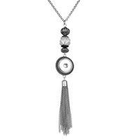 Regalo del partido colgante rápidas del jengibre moda Noosa PEDAZO cristalino largo de la borla de plata étnico girasol Snap Button collar DIY 18MM