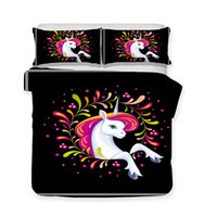3D Art Design Kids Unicorn Pattern Girls Bedding Sets Yoga M...
