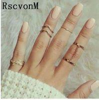RscvonM 6 قطع الشرير نمط ميدي الدائري مجموعات لون الذهب المفصل الدائري للنساء البنصر الأزياء والاكسسوارات والمجوهرات