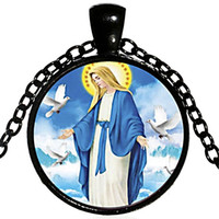Christianity Blessed Virgin Mary Necklace Christian Holy Fat...