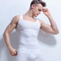 Marca Sexy Mans Semi Transparente cores sólidas Tanques Tops + Underwear Undershirt Preto Branco O-pescoço Undershirt Tops para Homem Tamanho M, L, XL, XXL