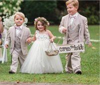 Custom Made Beige Wedding Suits Prom Two Button Flower Boy D...