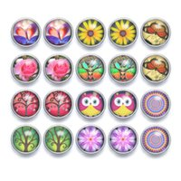 20pcs   lot Mixed Colors Various Patterns Cabochon snap butt...