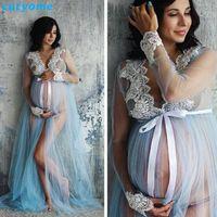 Mutterschaft Fotografie Requisiten Spitzenkleid Langarm Maxi Schwangerer Schießen Kleid Schwangerschaft Kleider für Foto-Shooting Schwangere