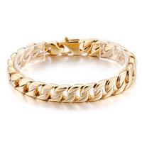 12 мм широкий панк золотой цвет браслет мужчины мода байкер звено цепи ювелирные изделия браслет мужские женщины из нержавеющей стали Снаряженная кубинские браслеты браслеты