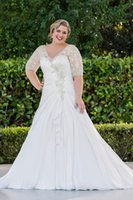 Der Verkauf der heiße neue V-Ausschnitt A Line Brautkleider mit Halbarm Langer Prinzessin Chiffon Brautkleider Plus Size-handgemachtes Kristall Top DH392