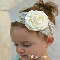 Newborn Baby Girls Elastic Lace Rose Flower Headbands Infant...