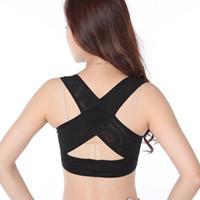 Senhoras Mulheres Ajustável Ombro Voltar Posture Corrector Peito Brace Suporte Belt-Black
