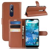 Litchi Motif Flip Magnetic PU Public portefeuille de portefeuille pour Nokia 7.1 2 5.1 plus x5 x6 7 Couverture à grains de litchi
