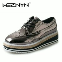 WGZNYN Brand 2017 Women Platform Shoes Woman Brogue Patent L...