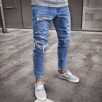 Distressed Hole Jeans Men Clothing Long Pencil Pants Biker D...