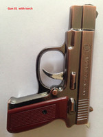 2 in 1 Creative Pistol Gun Forma Sigaretta Accendisigari Metal Metal Model 75 Cal.5 PAPA Antiqualizzabile Antifillible Gas Butano + Luce a LED